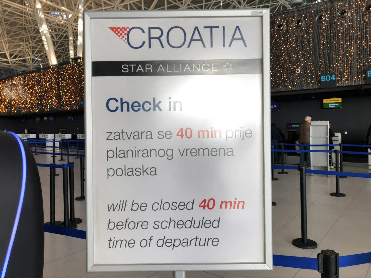 クロアチア航空のチェックイン案内