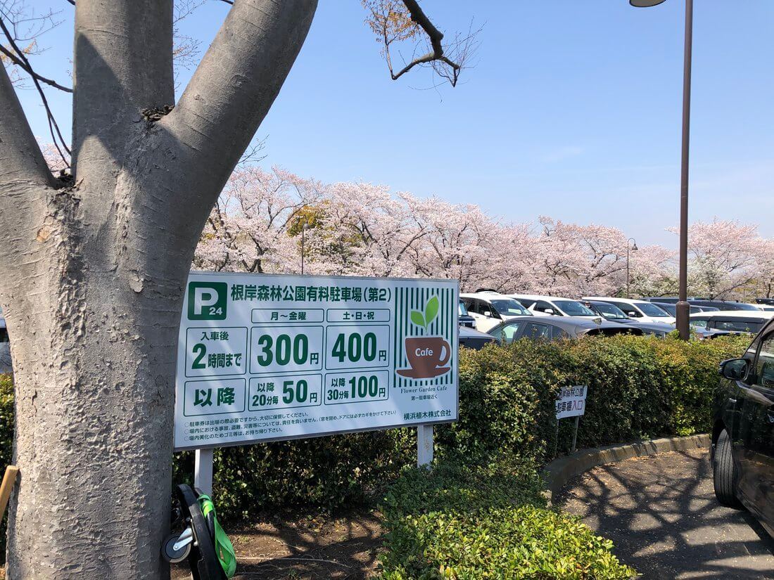 根岸森林公園の第二駐車場